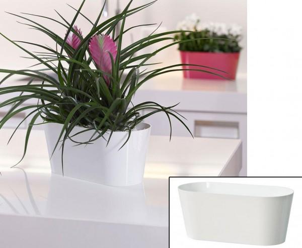 Schale für Kunstpflanzen weiß mit H:12x B: 28,5cmx T:13cm aus PP