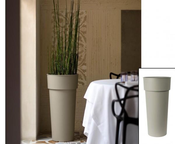 Hohe runde Pflanzsäule aus Kunststoff 80cm Sand farbig mit Innentopf