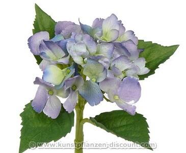 Hortensie Kunstblume mit violette blau farbiger Blüte, Druch. 11cm, Länge 35cm