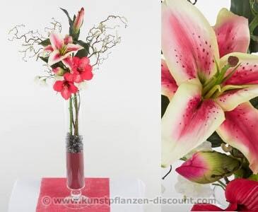 "Lilien-Amaryllis Blumengesteck ""Mia"" in rot, Höhe 80cm"