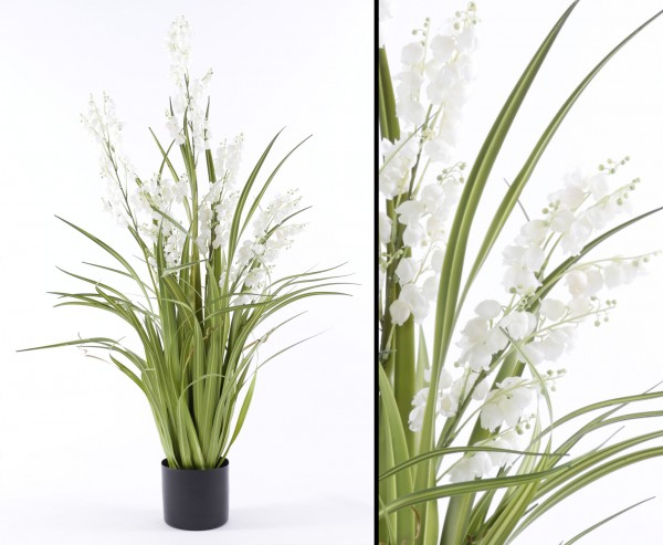 Glocken Kunstblume mit weißen Blüten und Gras im Topf 105cm