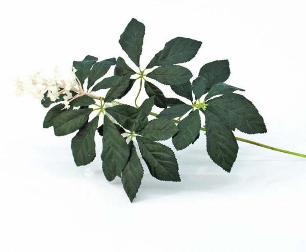 Deko Zweig Kastanie, mit Blüten zartrosa, 48 Blätter, Länge 60cm