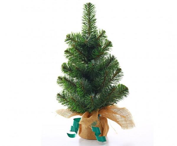 Künstlicher Christbaum klein mit 50cm als Tischdekoration mit Jute-Fuß