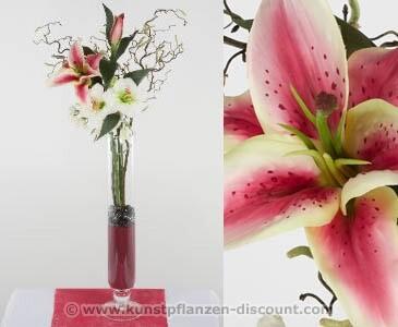 "Blumengesteck ""Mia"" Lilien-Amaryllis in rosa, Höhe 80cm"