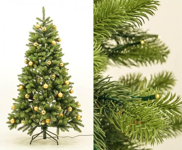 Künstlicher Tannenbaum mit Spritzguss Nadeln, LED Beleuchtung und goldenen Kugeln, 180cm