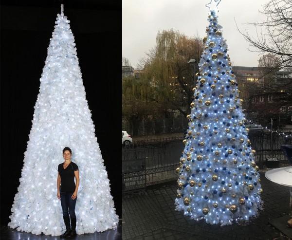 Weißer künstlicher Christbaum 650cm mit 2000 LEDs als Ringsystem mit B1 PVC Nadeln