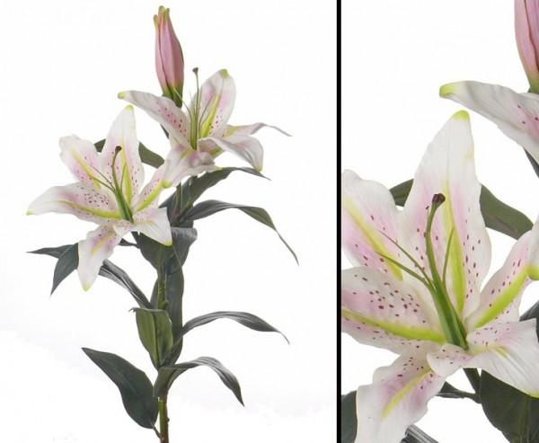"Kunstblume Lilie ""Gefühlsecht"" weiß-rosa, Länge 95cm"