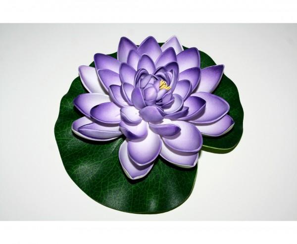Künstliche Seerose mit lila weiß farbigen Blüte 17,5cm aus Schaumstoff