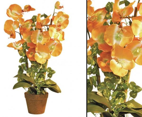 Orchidee, Kunstblume mit orange farbigen Blüten, 57cm