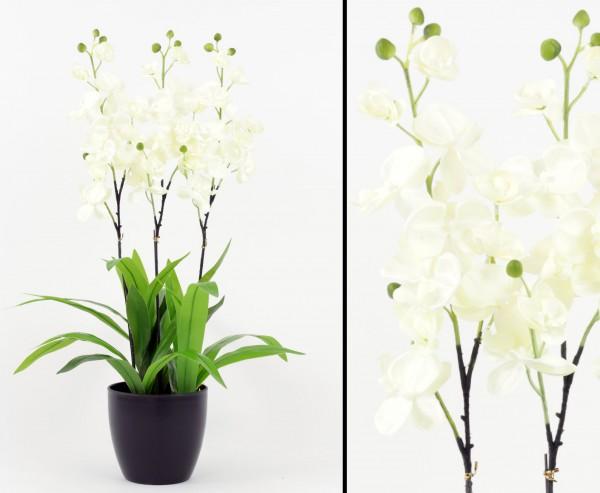 Kunstblume Orchidee weiße Blüte mit Topf 80cm