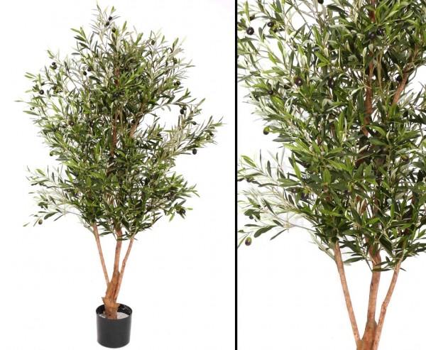 Olivenbaum, mit ca. 3432 Textilblättern, 96 Oliven und Naturstamm, Höhe 150cm