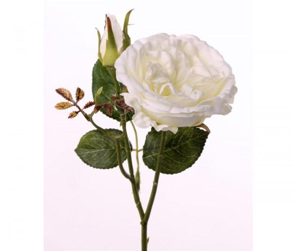 Künstliche Rose mit weiß farbiger Blüte, Länge 38cm