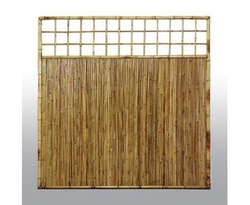 """Sichtschutzwand aus Bambus, mit Gitter oben, """"TEN""""  180 x 180cm"""