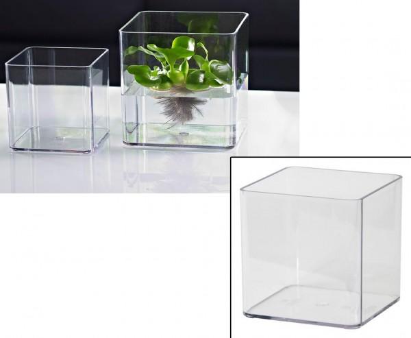 Blumenvase transparent mit 11x11x11cm aus Kunststoff