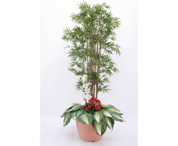 Kunstbaum Arrangement Bambus mit roten Geranien Höhe 180cm