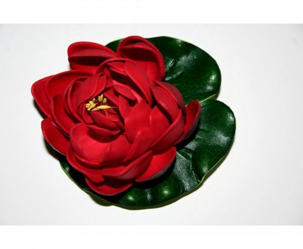 Schwimmende Kunstblume mit dunkel roter Blüte Durch. 10cm
