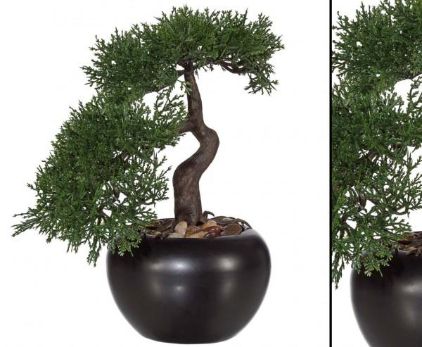 Bonsai Zeder Kunstpflanze im Keramiktopf mit 25cm