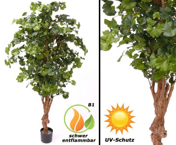 Künstlicher Ginkgo Baum UV geschützt und schwer entflammbar, 180cm