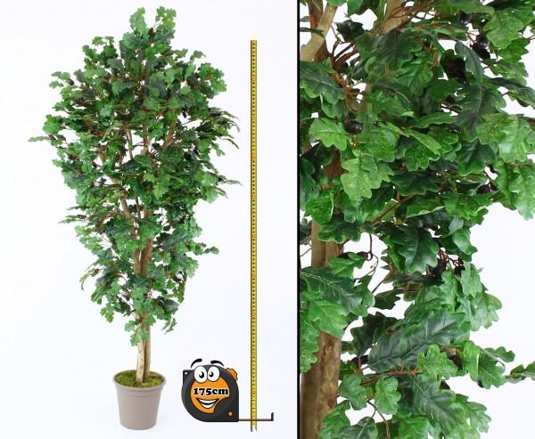 Kunstbaum Eiche 175cm mit 770 Textilfaser Blätter und Naturstämme