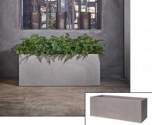 Pflanztrog im Zement-Style mit 80x30x30cm aus Kunststoff für Pflanzarrangements