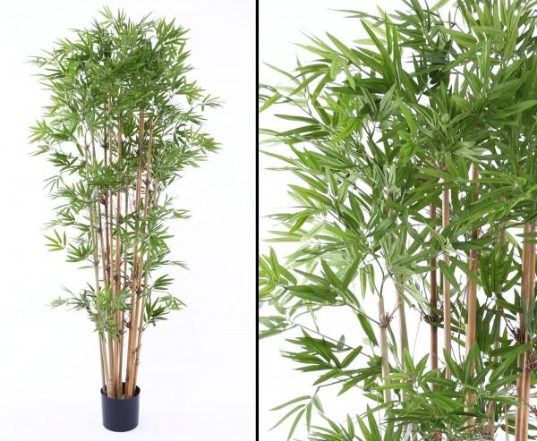 Bambus mit 2400 textilen Blättern und Naturstämmen, Höhe ca. 180cm