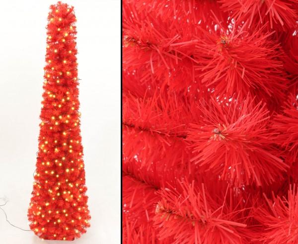 Künstliche rote Christbaum Säule Kasan 180cm, mit 192 LEDs, 392 Zweigspitzen B1