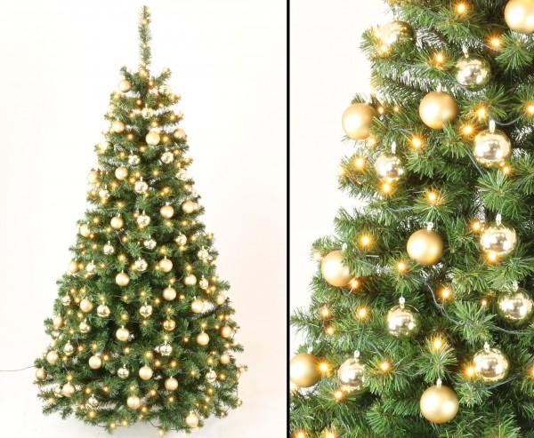 Künstliche Weihnachtsbäume mit Christbaumkugeln gold und LED Lampen, Höhe 210cm, schwer entflammbar