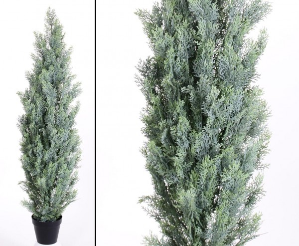 Zypressen Kunstbaum mit Zementfuß 150cm und 125 helle Nadelbündel