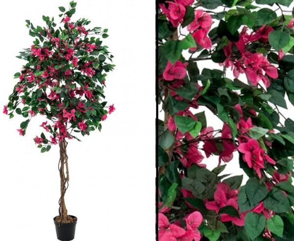 Bougainvillea Kunstbaum mit roten Blüten Höhe 180cm mit Zementfuß