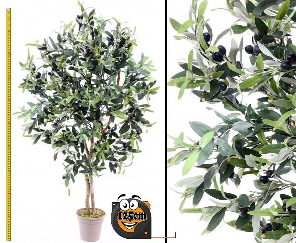 Oliven Kunstbaum 125cm mit 960 Blätter und Naturstämme
