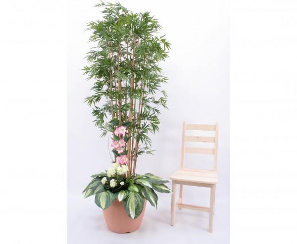 Bambus Kunstpflanzen Arrangement mit weißen Geranien Höhe 210cm