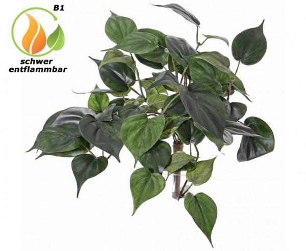 Kunstpflanzen Busch Philodendron grün schwer entflammbar mit 60Blätter 50cm