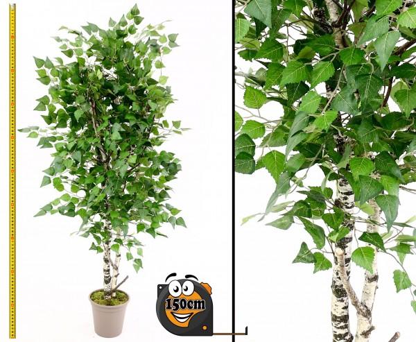 Birken Kunstbaum 150cm mit Naturstämmen und 924 Textilfaser Blätter