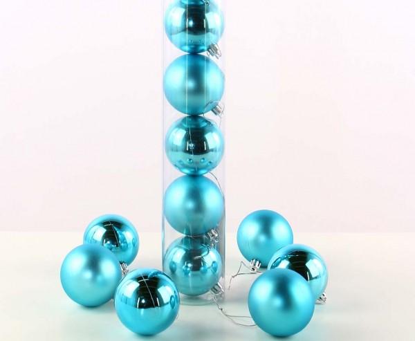 12er Set Christbaumkugeln Kunststoff petrol farbig mit 6cm matt und glänzend