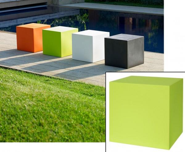 Sitz oder Stapel Kube apfelgrün farbig mit 40x40cm aus Kunststoff