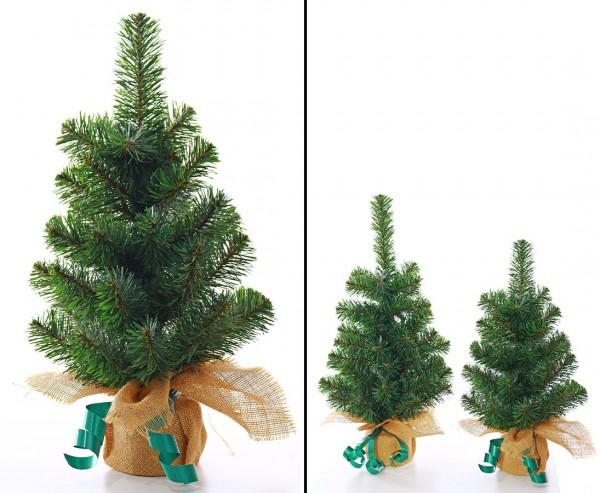 Künstlicher Tannenbaum klein mit 40cm als Tischdekoration mit Jute-Fuß