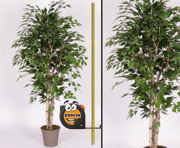 Künstlichen Birkenbaum 200cm mit Naturstämmen und 1764 Textilfaser Blätter