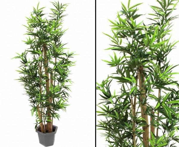 Bambus Kunstbaum mit Naturstämmen 1380 Blätter Höhe 205cm