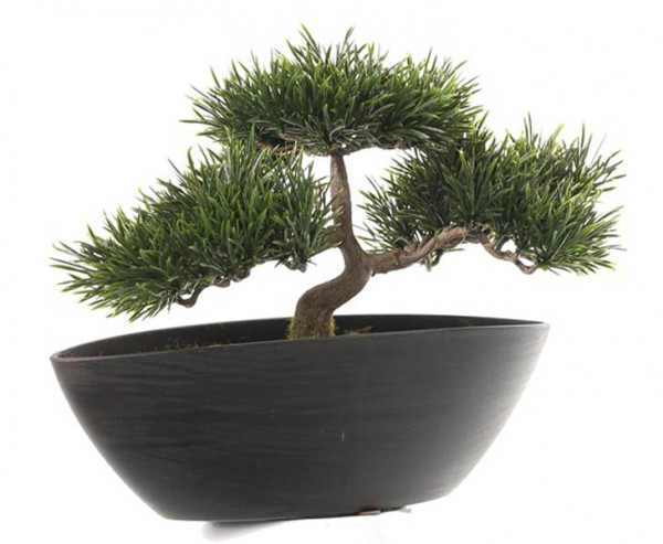 Künstlicher Bonsai in schwarzer Dekoschale mit 113 Zweigen