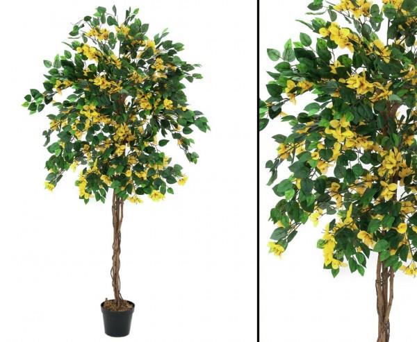 Künstlicher Bougainvillea mit gelben Blüten Höhe 150cm mit Zementfuß