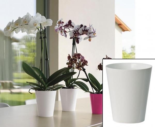 Vase für Kunstblumen weiss mit Höhe 15cm und Durchmesser 12,5cm, aus PP