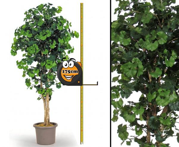 Künstlicher Baum Ginkgo 175cm mit 832 Blätter und Naturstämmen