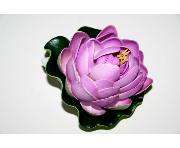 Seerosen Kunstblume mit lila Blütenblättern Durch. 10cm
