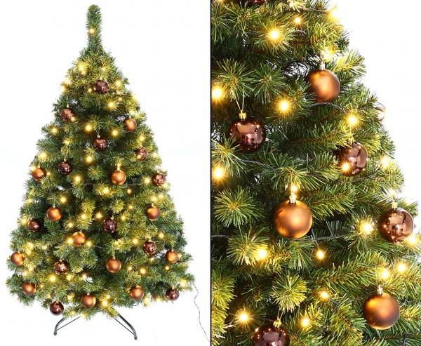 """Christbaum 150cm """"Maria"""" mit 24 braun farbigen Kugeln und Beleuchtung"""