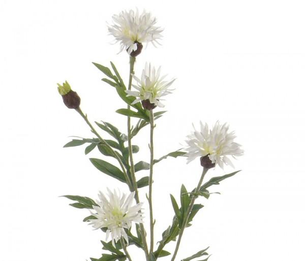 Künstliche Flockenblume mit 4 weißen Blüten, Länge 60cm