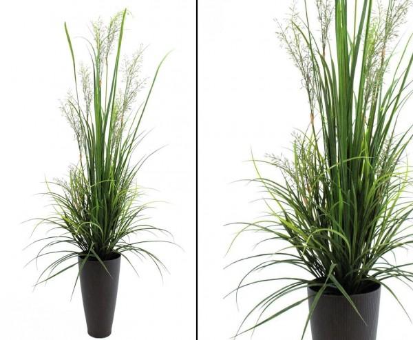 Schilfgras, Plastikpflanze grün für Außen, Höhe 175cm
