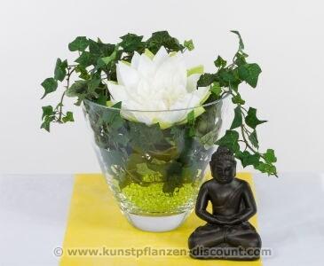 Tischgesteck Lotusarrangement, weiß-grün, Höhe 30cm