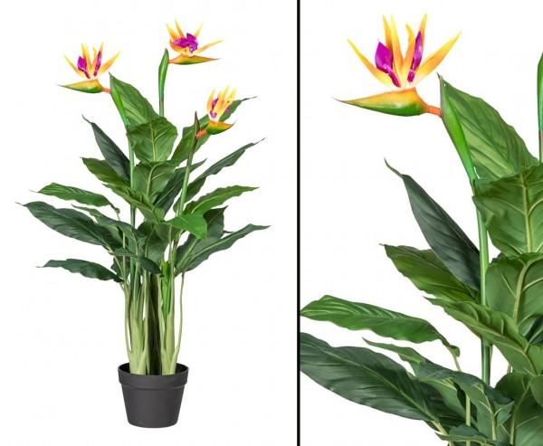 Strelitzie Kunstpflanze 100cm mit 3 Blüten