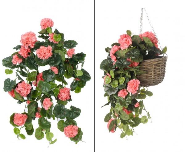 Geranienhänger mit 20 rosa farbigen Blüten 68cm