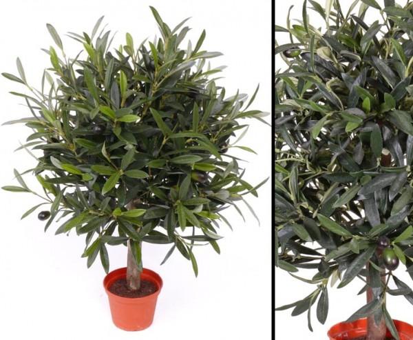 Olivenbäumchen mit Durch. 35cm, Kunstpflanze mit 1040 Blätter, 18 Oliven